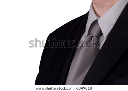 Businessman's tie and jacket up close over white - stock photo