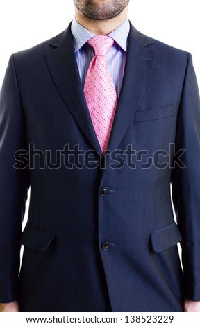 Businessman's torso in suit over white background - stock photo
