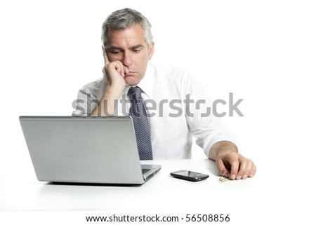 businessman sad senior thinking laptop computer white background gray hair - stock photo