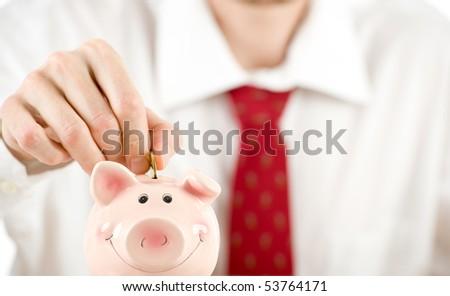 businessman saving money - stock photo
