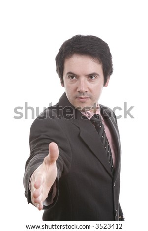 Businessman saying welcome, Black fact and with deep white... - stock photo