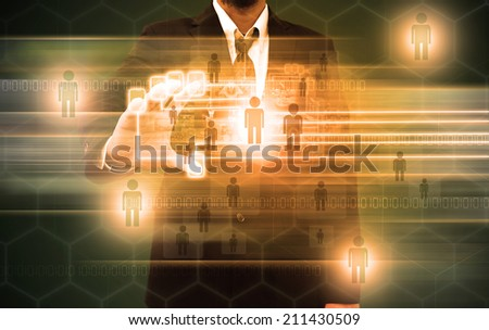 businessman scanning of a finger on a touch screen interface - stock photo