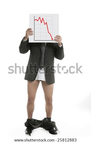 Businessman scared by bad chart sales report, trousers falling [Photo Illustration]