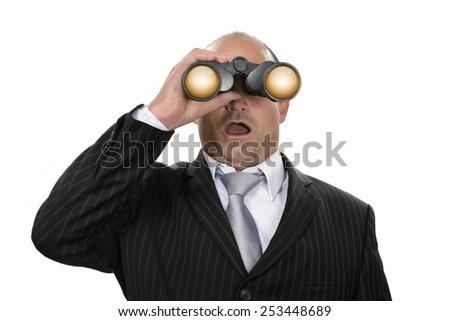 Businessman scouting something stunning - stock photo