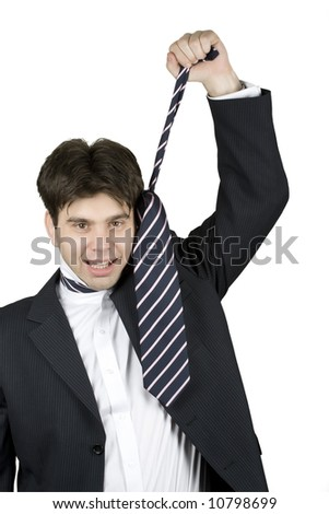 businessman screaming and pulling his tie - stock photo