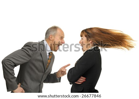 Businessman screaming with employee