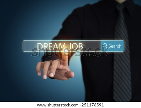 Businessman search for dream job - stock photo