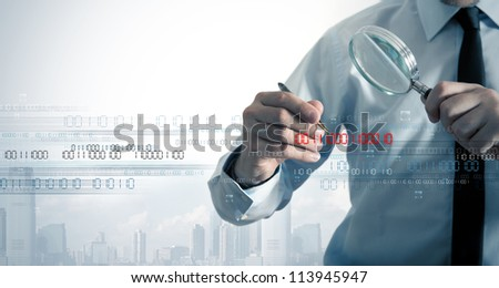 Businessman search the virus in a binary code