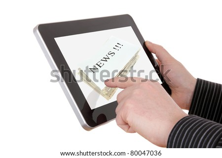 businessman searching a news information on pad - stock photo