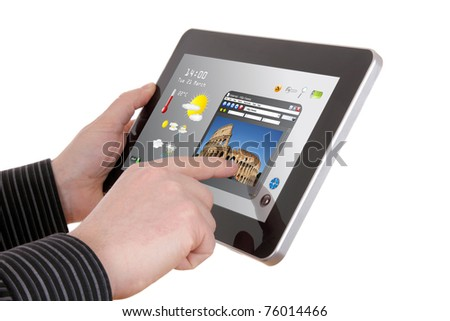 businessman searching a tourism information on pad - stock photo