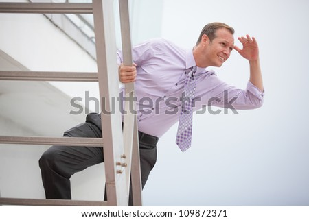Businessman searching for opportunity - stock photo