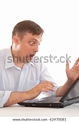 businessman searching for solutions on a white background