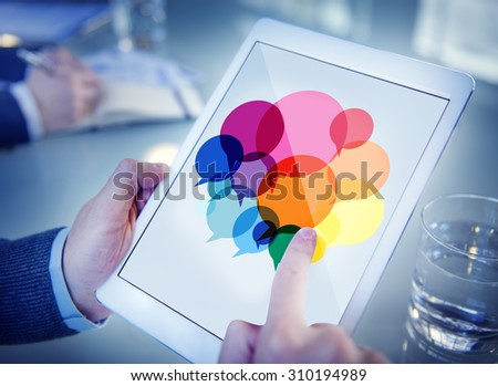 Businessman Searching Speech Bubbles Communication Concept - stock photo