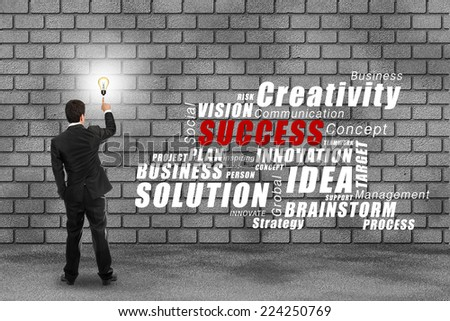 Businessman see concept picture of idea on Brick wall  - stock photo