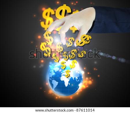 businessman select Dollar sign - stock photo