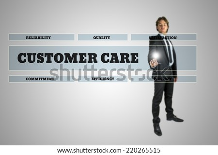 Businessman Selecting Customer Care Window on Touch Screen in Business Concept Image. - stock photo