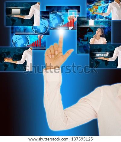 businessman selecting images streaming - stock photo