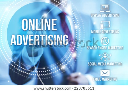 Businessman selecting online internet advertising - stock photo