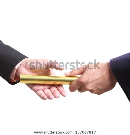 businessman send golden boton for competition  in concept teamwork with clipping path - stock photo