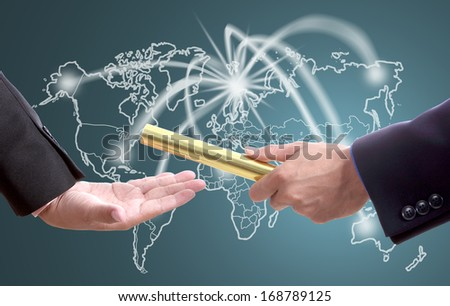 businessman send golden boton for competition with world business in concept teamwork - stock photo