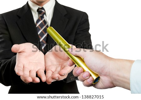 businessman  send golden boton to another one  on white background - stock photo