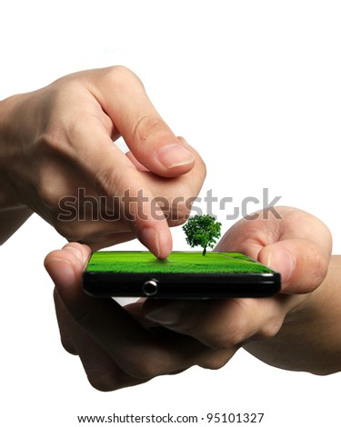 Businessman send massage on mobile phone - stock photo