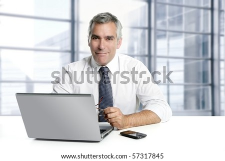 businessman senior gray hair working laptop interior modern white office [Photo Illustration]