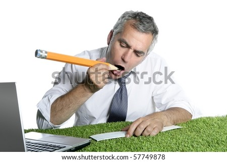 businessman senior sign bank check funny humor gesture big pencil on green grass - stock photo