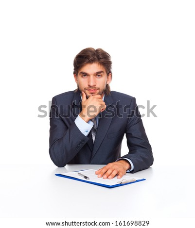 businessman serious think at office desk sign up contract, business man ponder sitting with documents, papers isolated over white background - stock photo