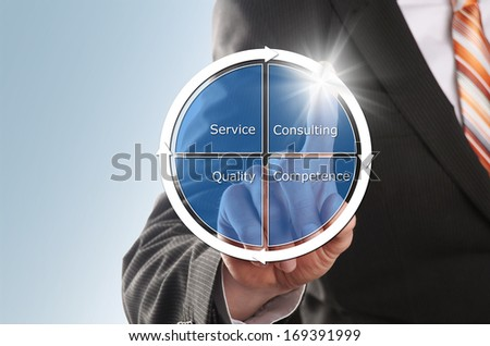 businessman sets its new strategy to increase the customer satisfaction - stock photo
