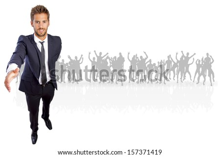 businessman shaking hand on a crowd - stock photo