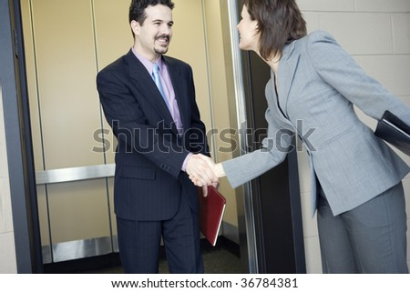 Businessman shaking hand with a businesswoman - stock photo