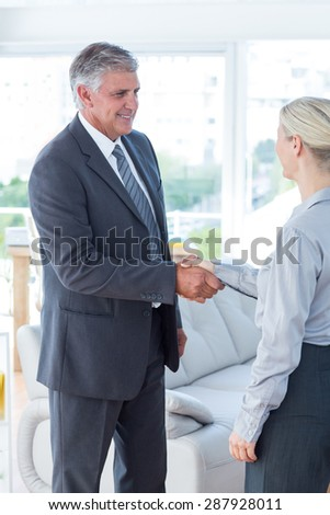 Businessman shaking hands with a businesswoman in an office - stock photo