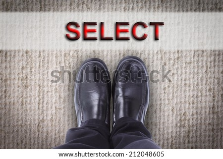 Businessman shoe for start to do business - stock photo