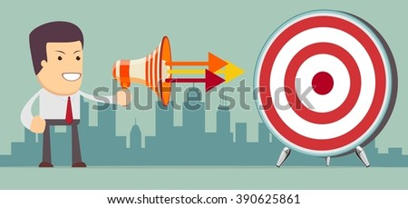 Businessman shouting in megaphone vector concept in modern flat style. Men holding a megaphone, promotion marketing concept.. Stock illustration - stock photo