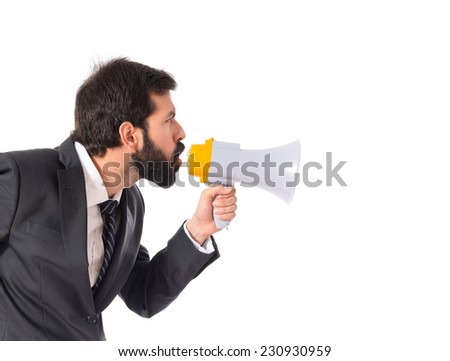 Businessman shouting over isolated white background