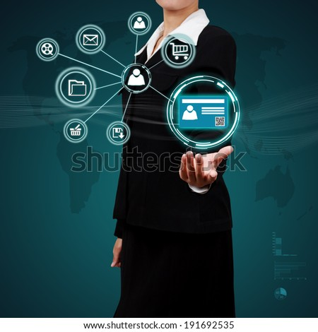 Businessman show authentication in hand. Concept of security on business. - stock photo