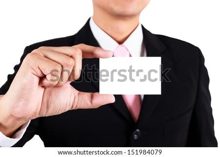 Businessman show blank namecard - stock photo