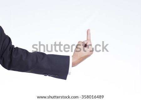 Businessman Show Middle Finger - stock photo