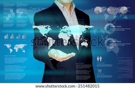 Businessman show the global business and information on hand, Design concept of Business and Information technology - stock photo