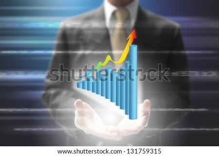 businessman show virtual graph on hand. - stock photo