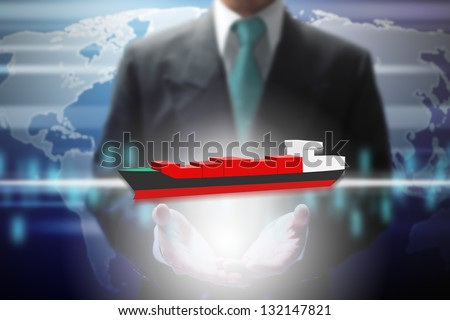businessman show virtual oversea ship with wold map background. - stock photo