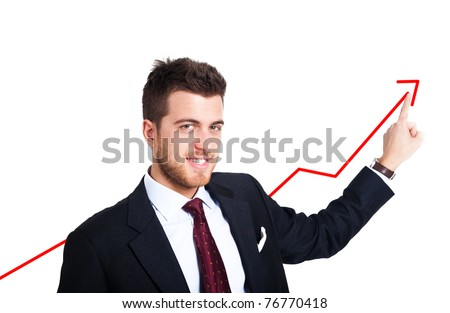 Businessman showing a growing business graph isolated on white - stock photo