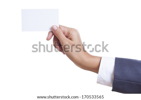 Businessman showing and handing a blank business card, isolated on white background. with using path