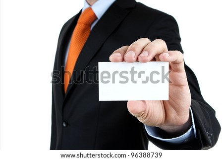 Businessman showing blank business card isolated on white background - stock photo