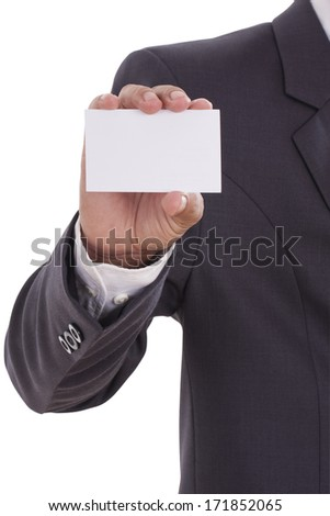 Businessman showing blank business card on white background with using path  - stock photo