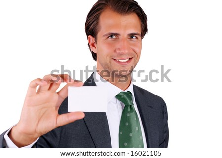 Businessman showing business card - stock photo
