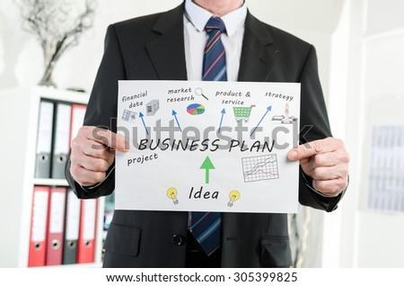 Businessman showing business plan concept at office