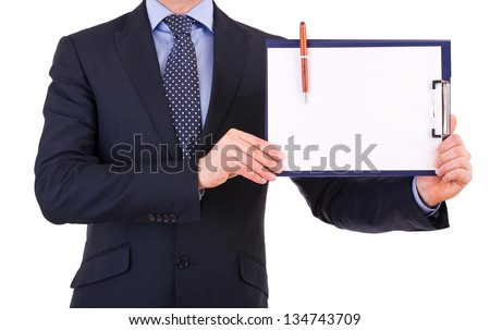Businessman showing clipboard. - stock photo