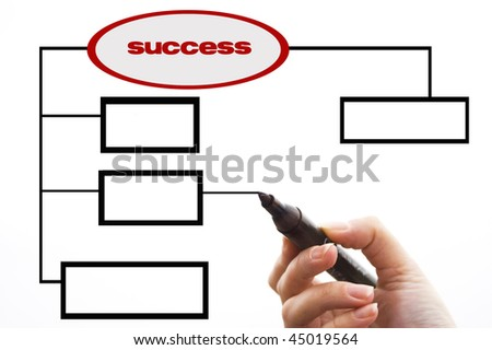 Businessman showing database structure on a whiteboard - stock photo